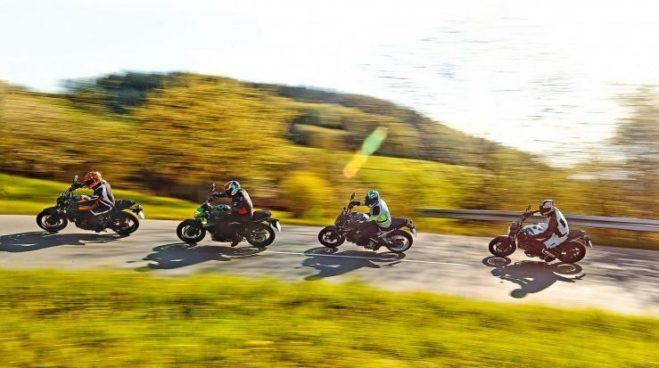 Средний класс мотоциклов: Хонда C 650 F, Кавасаки ER-6n против Сузуки SV 650 Vs Ямаха MT-07
